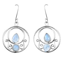 925 sterling silver 6.18cts natural rainbow moonstone dangle earrings p30597