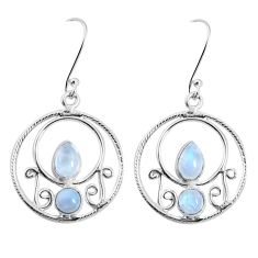 6.33cts natural rainbow moonstone 925 sterling silver dangle earrings p30598