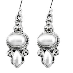 925 sterling silver 8.77cts natural white pearl dangle earrings jewelry p30643