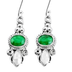 8.03cts natural green emerald white pearl 925 silver dangle earrings p30653