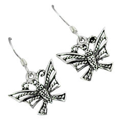 Indonesian bali style solid 925 sterling silver butterfly earrings jewelry p3069