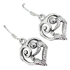 Mom and child solid 925 sterling silver dangle heart earrings p3073