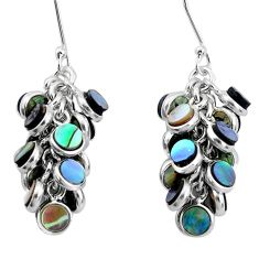 15.74cts natural green abalone paua seashell silver chandelier earrings p31033