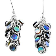 16.54cts natural abalone paua seashell 925 silver chandelier earrings p31035