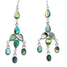 14.42cts natural green abalone paua seashell silver chandelier earrings p31044