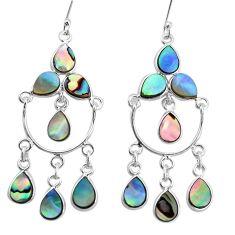 16.17cts natural green abalone paua seashell silver chandelier earrings p31050