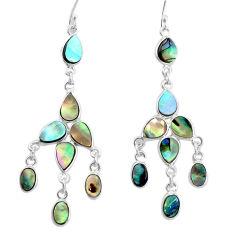 925 silver natural green abalone paua seashell chandelier earrings p31051