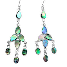 14.40cts natural green abalone paua seashell silver chandelier earrings p31052