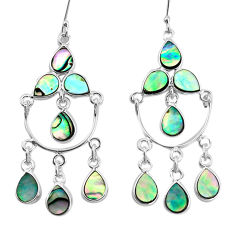 15.85cts natural green abalone paua seashell silver chandelier earrings p31053