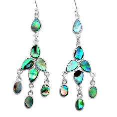 14.42cts natural green abalone paua seashell silver chandelier earrings p31057