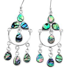 925 silver natural green abalone paua seashell chandelier earrings p31058