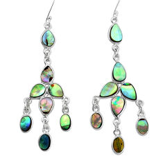 14.44cts natural abalone paua seashell 925 silver chandelier earrings p31063
