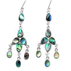 14.93cts natural abalone paua seashell 925 silver chandelier earrings p31067