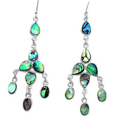 14.90cts natural abalone paua seashell 925 silver chandelier earrings p31069