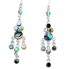10.84cts natural green abalone paua seashell silver chandelier earrings p31076