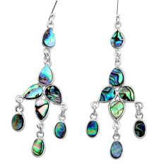 14.42cts natural green abalone paua seashell silver chandelier earrings p31077
