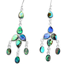 925 silver 15.82cts natural abalone paua seashell chandelier earrings p31079