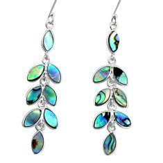 12.96cts natural green abalone paua seashell silver chandelier earrings p31094
