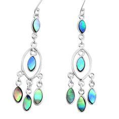 11.68cts natural abalone paua seashell 925 silver chandelier earrings p31113
