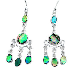 10.29cts natural abalone paua seashell 925 silver chandelier earrings p31121