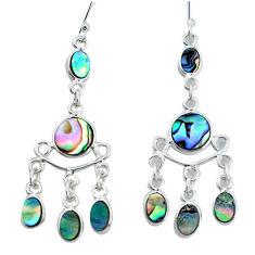 10.80cts natural green abalone paua seashell silver chandelier earrings p31124