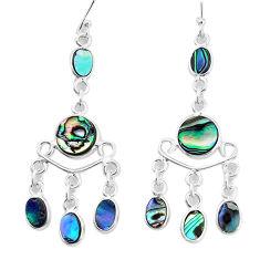 10.39cts natural abalone paua seashell 925 silver chandelier earrings p31130