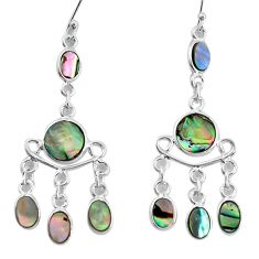 10.37cts natural abalone paua seashell 925 silver chandelier earrings p31136