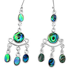 10.02cts natural abalone paua seashell 925 silver chandelier earrings p31140