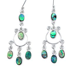 9.05cts natural abalone paua seashell 925 silver chandelier earrings p31146