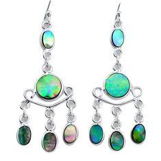 10.31cts natural green abalone paua seashell silver chandelier earrings p31152