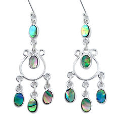 8.73cts natural green abalone paua seashell silver chandelier earrings p31155