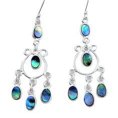 8.77cts natural green abalone paua seashell silver chandelier earrings p31160