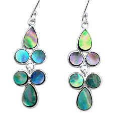 8.56cts natural green abalone paua seashell silver chandelier earrings p31167