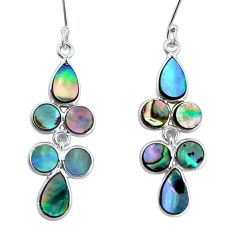 8.51cts natural green abalone paua seashell silver chandelier earrings p31175