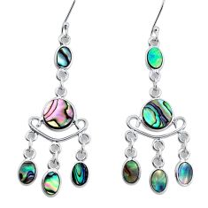 10.31cts natural green abalone paua seashell silver chandelier earrings p31176