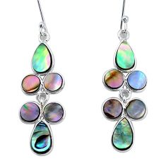 8.51cts natural green abalone paua seashell silver chandelier earrings p31178