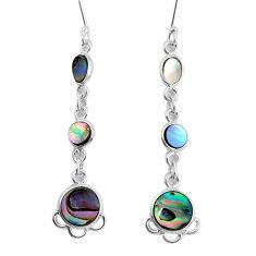 7.56cts natural green abalone paua seashell 925 silver dangle earrings p31181