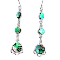 8.77cts natural green abalone paua seashell 925 silver dangle earrings p31182