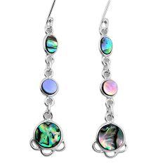7.93cts natural green abalone paua seashell 925 silver dangle earrings p31183