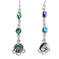 925 silver 8.73cts natural green abalone paua seashell dangle earrings p31184