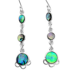 8.32cts natural green abalone paua seashell 925 silver dangle earrings p31185