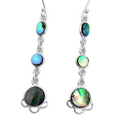 9.18cts natural green abalone paua seashell 925 silver dangle earrings p31186