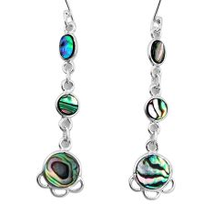 8.38cts natural green abalone paua seashell 925 silver earrings jewelry p31187