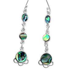 8.34cts natural green abalone paua seashell 925 silver dangle earrings p31188
