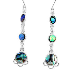 925 sterling silver 9.18cts natural green abalone paua seashell earrings p31190