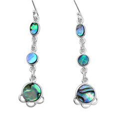 8.73cts natural green abalone paua seashell 925 silver dangle earrings p31191