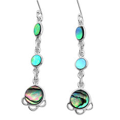 9.16cts natural green abalone paua seashell 925 silver dangle earrings p31192