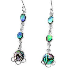 925 silver 8.73cts natural green abalone paua seashell dangle earrings p31194