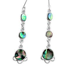 8.75cts natural green abalone paua seashell 925 silver dangle earrings p31196
