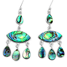 16.20cts natural green abalone paua seashell silver chandelier earrings p31201